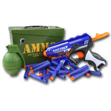 Kids Niños Ejército Blaze Storm Juego munición Tin Box pistola granada Dart