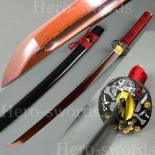 Flowers Tsuba Katana Damascus Japanese samurai sword Battle Ready Wakizashi