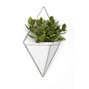 New Contemporary Modern Trigg Large White & Nickel Hanging Planter Wall Decor