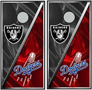 Oakland Raiders & La Dodgers 0616 custom cornhole board vinyl wraps stickers