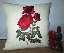 Kissenhülle  40x40 cm Leinen natur  roten Rosen rot Rose rote Rose Landhaus