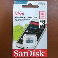 New SanDisk Ultra 16GB Micro SD MicroSDHC 80MB/s Class 10 Flash Memory Card