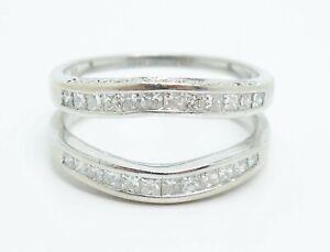 Fine Contemporary Design 14K White Gold Diamond Engagement Guard Ring Size 6.5