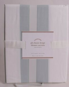 Pottery Barn PB Classic Stripe cotton shower curtain, porcelain blue & white