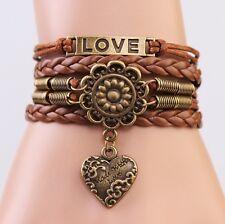Fashion New Hot Infinity Love heart Leather Cute Charm Cuff Wrap Bracelet DIY