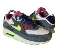 Air Max 90 Nike Trainers - Womens Uk 5.5 - White/Volt Ice-Green Abyss-Clear Grey
