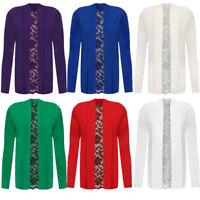 Women's Ladies Plus Size Floral Long Sleeve Lace Back Boyfriend Cardigan Top