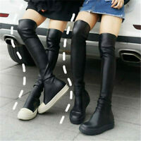 Details about  /Women Stretchy Thigh High Over Knee Fashion Sneaker Boots Flat Platform Creepers