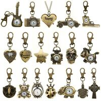 Retro Vintage Antique Steampunk Bronze Key Ring Pocket Watch Quartz Gift