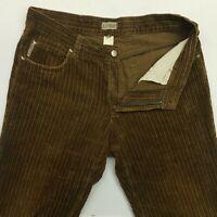 Armani  Mens Corduroy Cord Vintage Jeans W34 L33 Brown Relaxed Wide-Leg