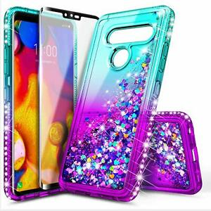 For LG G8 ThinQ Case Liquid Glitter Bling Cute Phone Cover + Tempered Glass