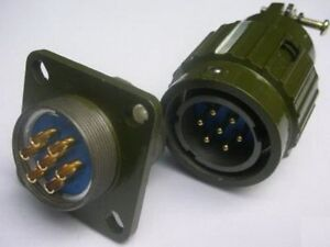 1x Military Gold 7-Pin Twist Male Female Connector,M7P