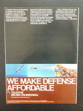 9/1979 PUB TELEDYNE BROWN ENGINEERING BALLISTIC TARGET DRONE DEFENSE ORIGINAL AD