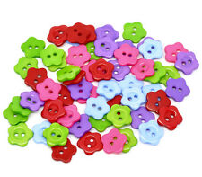 30 x 14mm Mixed Colour Resin Flower Buttons Craft Scrapbooking P77