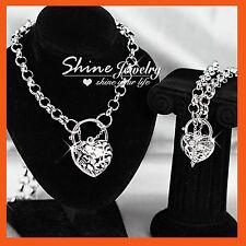 18k White Gold Filled Heart Padlock Belcher Ring Solid Necklace Pendant Gift Set