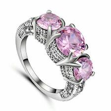 Pink Sapphire Three Stone Wedding Ring White Rhodium Plated Christmas Gift Size9