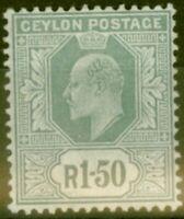 Ceylon 1905 1R 50c Grey SG287 Fine Lightly Mtd Mint