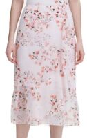 Calvin Klein Womens Skirt Pink Size 14 Floral Printed Ruffled Midi $79 147