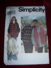 SIMPLICITY #9727-MENS or LADIES (GREAT FOR FLEECE) JACKET or VEST PATTERN L-XLuc