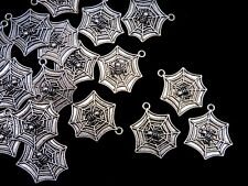 10 Pcs - 27mm Tibetan Silver Spider 's Web Halloween Charms Spider Gothic H28