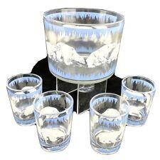 Vintage Hazel Atlas Glass Polar Bear Ice Bucket & 4 Glasses  c.1939