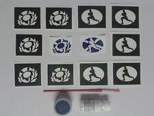Scottish rugby glitter tattoo set inc stencil + glitter Scotland  World Cup rugb