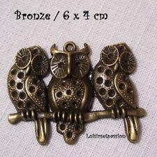 405 - CHARM / BRELOQUE - BRANCHE 3 CHOUETTE HIBOU ** 6 x 4 cm ** Bronze