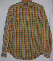 Ralph Lauren Polo Mens LS Button Shirt Yellow Blue Red Green Plaid Check L