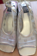 LADIES SILVER 'LACY' SHOES, SIZE 5,  'DONNA TREND', WITH 6.5cm CUBAN HEEL
