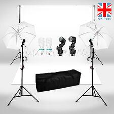 Photo Studio Background Lighting Kit White Backdrop + Umbrella + Light Stand UK