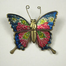 Vintage Butterfly Brooch 1 5/8 In Goldtone Metal Enamel Pin Jewelry Green Pink