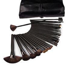 32 Pc Professional Brush Set Roll Up Case Natural Hair Mineral Makeup Make- up