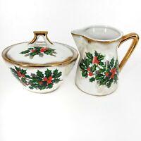 1950's Japan Ucagco Christmas Holly Berry Lustreware sugar bowl and creamer set