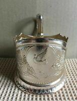 Vintage Russian Soviet podstakannik Dove Pigeon tea glass holder Aluminum USSR