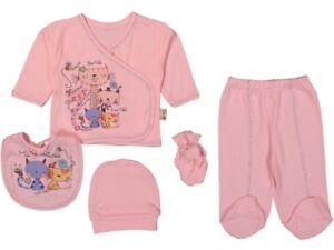 NEU Baby 5er Set Neugeborenen Outfit Gr. 50-56 Mädchen Cats Glitzer Mode Rosa