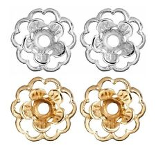 Earring Jackets Set of 2 Flower Jackets 1 Pair Gold and 1 Pair Silver Jackets