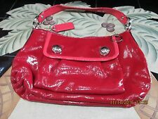 Coach,Poppy,Patent Leather,Ruby Red,Pocketbook,Small,Authentic,Front Flap Pocket