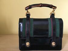 "Authentic Vintage Gucci Black ""Lunch Box"" Handbag w/Grn/Red   Made in Italy"