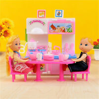 23PCS Kitchen Furniture Toy Set Tableware Cook Dinnerware for Dolls Accessories