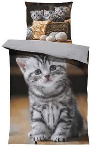 Katzen Bettwäsche 135x200 cm süße Katze Welpen Baby Kitty grau Wende Microfaser