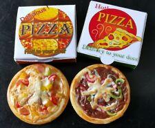 Set of 4 Dollhouse Miniatures Thanksgiving Food Roast Ham Turkey Pizza Sausage