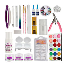 Acrylic Nail Art Set Kit Liquid Crystal Powder Liquid Dish Clipper Tips Decor