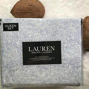 Lauren by RALPH LAUREN Luxury Cotton Blue Paisley Sketch Printed QUEEN Sheet Set