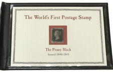 THE WORLD'S FIRST POSTAGE STAMP THE PENNY BLACK ISSUED 1840-1841 POSTAL SOCIETY