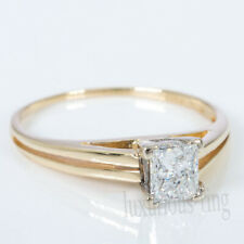 Princess 1.02 Ct Near White Moissanite 14k Solid Yellow Gold Engagement  Ring 7