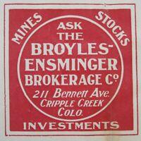 Antique Mining Stock Cripple Creek Colorado Broker Receipt Revenue Stamp 1900