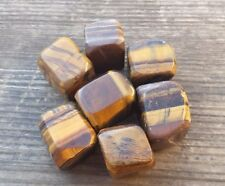 THREE (3) TIGER EYE TUMBLED STONES MEDIUM/LARGE NATURAL TUMBLE STONES