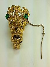 ANTIQUE FRENCH PALAIS ROYAL ORMOLU GREEN POSY/TUSSIE MUSSIE 1880'S