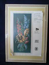 Vintage German Embroidery Sunflowers Larkspur Wall Hanging Dark Background IOB