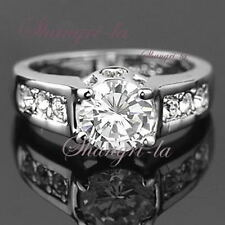 Solitaire with Accents White Gold Filled Fashion Rings